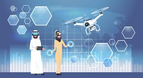 Arab Man And Woman Wearing 3d Glasses With Drone Virtual Reality Concept. Flat Vector Illustration Royalty Free Stock Images