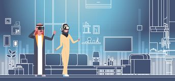 Arab Man And Woman Wearing 3d Glasses Virtual Reality Headset Over Living Room Background. Flat Vector Illustration Royalty Free Stock Photo