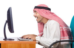 The arab man working in the office Royalty Free Stock Photography