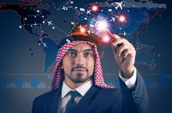 The arab man in world travel concept Stock Image