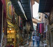 Arab market in El Wad HaGai street in old city of Jerusalem, Israel. Jerusalem, Israel, November 17, 2018 : Arab market in El Wad HaGai street in old city of stock photo