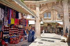 The Arab market of the old city Jerusalem, Israel Stock Images