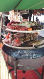 Arab Markets Ibiza Spain. Roasted, grilled, fried, braised, succulent, tender, stewed, boiled, simmered, bbq, barbecued, rotisserie marinaded meats, seafood Stock Images
