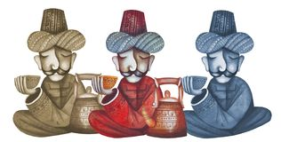 Arab men pouring the tea. Original watercolor illustration of tea drinking Royalty Free Stock Image