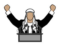 Arab before a microphone on a white background Royalty Free Stock Photography