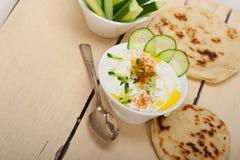 Arab middle east goat yogurt and cucumber salad Stock Image