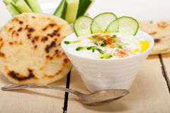 Arab middle east goat yogurt and cucumber salad Stock Photo