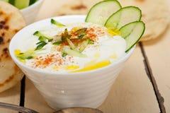Arab middle east goat yogurt and cucumber salad Stock Photography