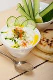 Arab middle east goat yogurt and cucumber salad Stock Photo