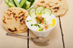 Arab middle east goat yogurt and cucumber salad Stock Photos
