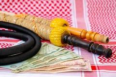 Arab Money Dirham Bank note, , hookah and Traditional Arab Male Clothes - kaffiyah and agal
