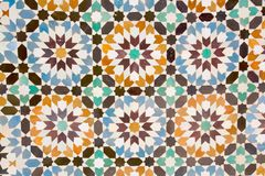 Arab mosaic. Arabic ceramic tiles on the wall Stock Photos