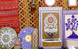 Arab mosaic deco tiles and fabric decoration Royalty Free Stock Image