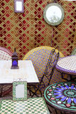 Arab mosaic deco tiles and fabric decoration Stock Photography
