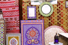 Arab mosaic deco tiles and fabric decoration Royalty Free Stock Photos