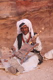 Arab musician in Petra, Jordan. Royalty Free Stock Photos