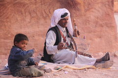 Arab musician in Petra, Jordan. Royalty Free Stock Photography