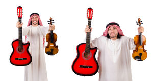 The arab musician with violin and guitar isolated on white. Arab musician with violin and guitar isolated on white Royalty Free Stock Image