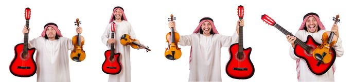 The arab musician with violin and guitar isolated on white. Arab musician with violin and guitar isolated on white Royalty Free Stock Images