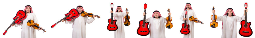 The arab musician with violin and guitar isolated on white Stock Photography