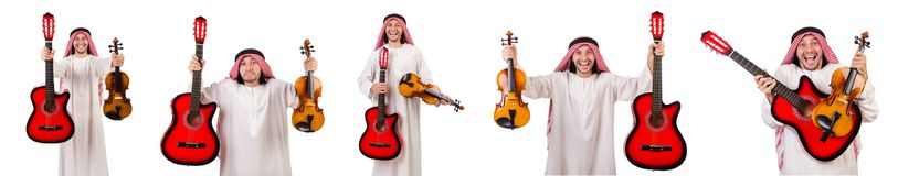 The arab musician with violin and guitar isolated on white Stock Images