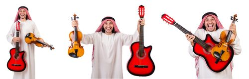 The arab musician with violin and guitar isolated on white. Arab musician with violin and guitar isolated on white Stock Photography