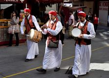 Medieval Market in Cartagena. Arab musicians - Historical festival of three cultures - Arabic, Jewish and Christian - Medieval Market in Cartagena. Spain. Region royalty free stock images