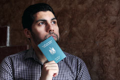 Arab muslim man with egypt passport stock image