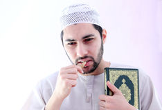 Arab muslim man with toothbrush miswak Stock Photo
