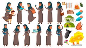 Arab, Muslim Teen Girl Poses Set Vector. Refugee, War, Bomb, Explosion, Panic. For Web Design. Isolated Cartoon. Arab, Muslim Teen Girl Poses Set Vector. Refugee royalty free illustration