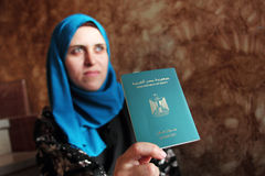 Arab muslim woman with egypt passport Royalty Free Stock Images