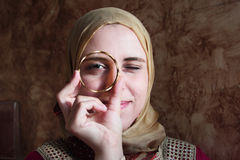 Arab muslim woman with golden bracelet Royalty Free Stock Photos