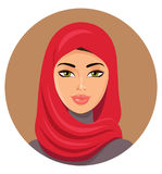 Arab muslim woman in red hijab. Vector Illustration Royalty Free Stock Photos