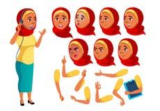 Arab, Muzułmański Nastoletni dziewczyna wektor nastolatek śmieszny Online konsultant pracownik Twarzy emocje, Różnorodni gesty an ilustracja wektor