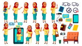 Arab, Muzułmańskie Nastoletnie pozy Ustawiający dziewczyna wektor Życzliwy, otucha Online pomagier, konsultant Dla sztandaru, ulo ilustracji