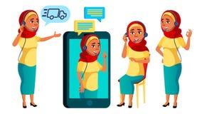 Arab, Muzułmańskie Nastoletnie pozy Ustawiający dziewczyna wektor Kaukaski, pozytyw Online pomagier, konsultant Dla prezentaci, d ilustracji