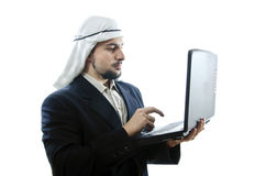 Arab Net. Arabian network. Arab man in on-line issues Stock Photography