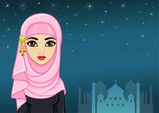 Arab night. Animation portrait of the beautiful girl in a hijab. A background - the night star sky, a palace silhouette. The place for the text. Vector vector illustration