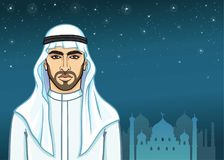 Arab Night. Animation Portrait Of The Handsome Arab Man In Traditional Clothes. Stock Image