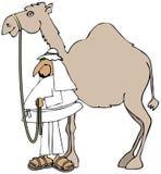 Arab och hans kamel Arkivbild