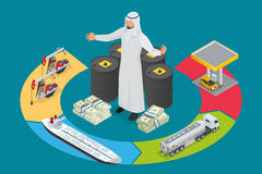 Arab oil tycoon. Metal oil barrel. Oil, petroleum, tank car, tanker. Oil industry business. Flat 3d isometric. Infographic vector illustration Stock Image