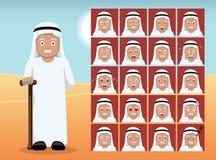 Arab Old Man Cartoon Emotion faces Vector Illustration Stock Photos