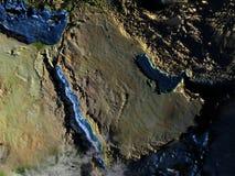 Arab Peninsula on Earth at night - visible ocean floor Stock Image