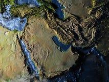 Arab Peninsula on Earth at night - visible ocean floor Royalty Free Stock Photos