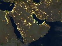 Arab Peninsula at night on planet Earth Stock Image