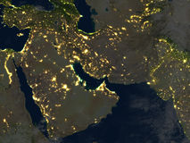 Arab Peninsula at night on planet Earth Stock Images