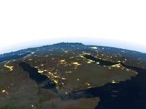 Arab Peninsula at night on planet Earth Stock Photography