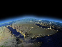 Arab Peninsula from space on early morning Stock Photos