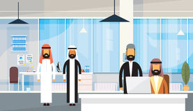 Arab People Businessman Group Traditional Clothes Arabic Business Office Workplace royalty free illustration
