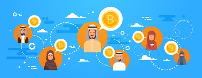 Arab People Buying Bitcoins Over World Map Modern Digital Money Network Crypto Currency Concept. Vector Illustration Stock Photos